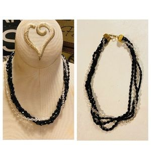 Sarah Coventry Black & Clear Glass Beads Necklace